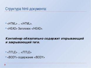 Структура html-документа:  ... ,  Заголовок . Контейнер обязательно содержит