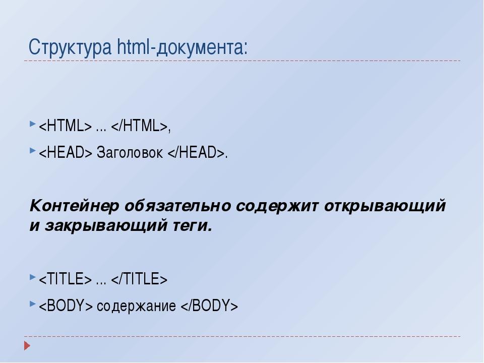 Структура html-документа:  ... ,  Заголовок . Контейнер обязательно содержит...