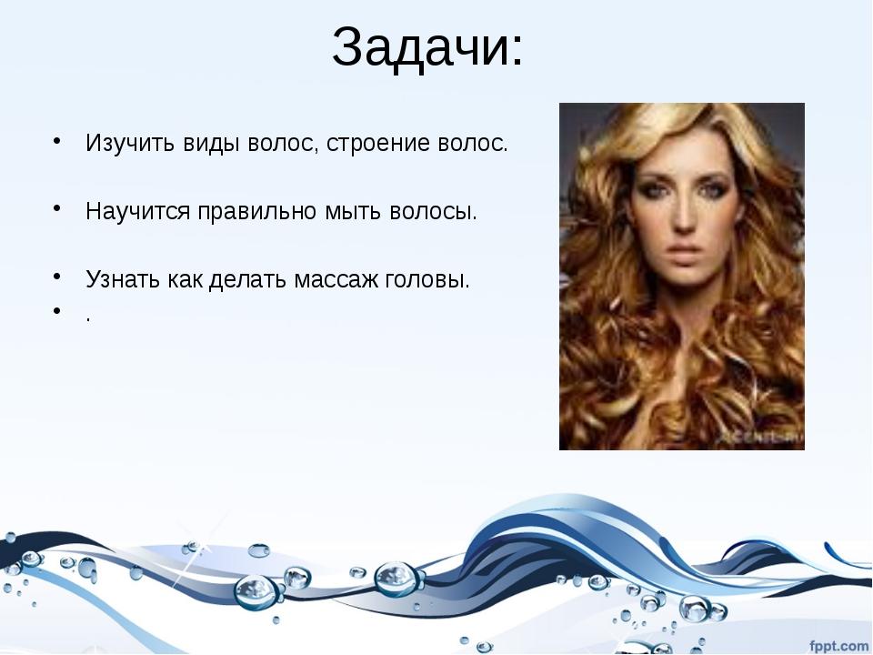Задачи: Изучить виды волос, строение волос. Научится правильно мыть волосы. У...