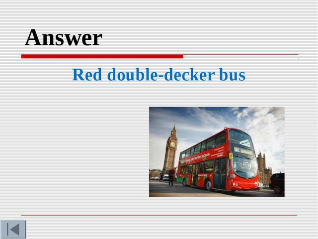Answer Red double-decker bus