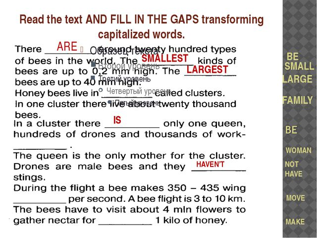 Read the text AND FILL IN THE GAPS transforming capitalized words. BE SMALL L...