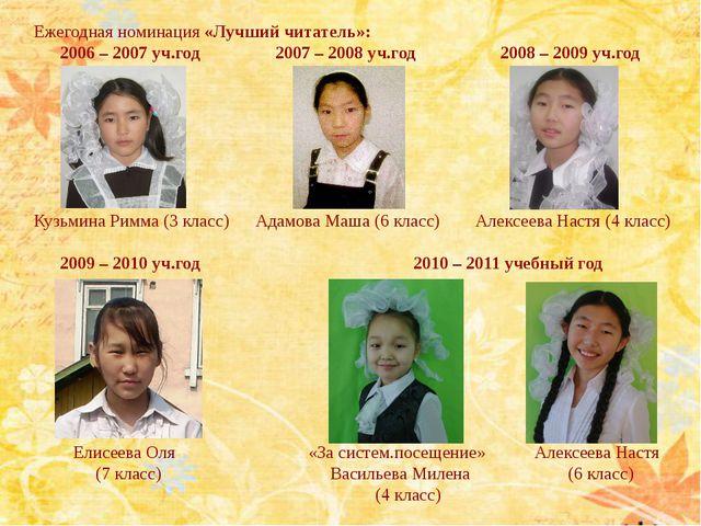 Ежегодная номинация «Лучший читатель»: 2006 – 2007 уч.год 2007 – 2008 уч.год...