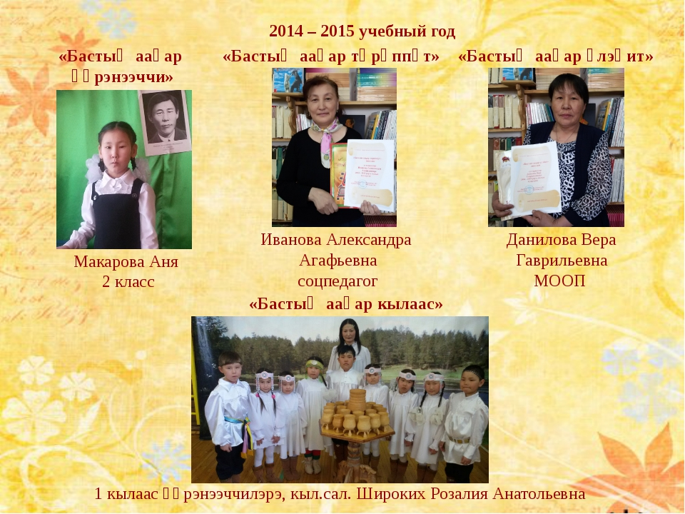 2014 – 2015 учебный год Макарова Аня 2 класс Иванова Александра Агафьевна соц...