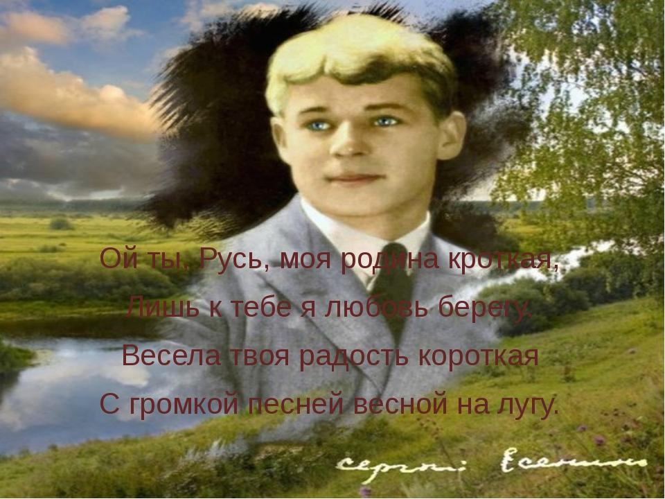 Ой ты, Русь, моя родина кроткая, Лишь к тебе я любовь берегу. Весела твоя ра...