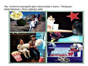 -Мы посетили в выходной день театр актера и куклы « Петрушка» представление «