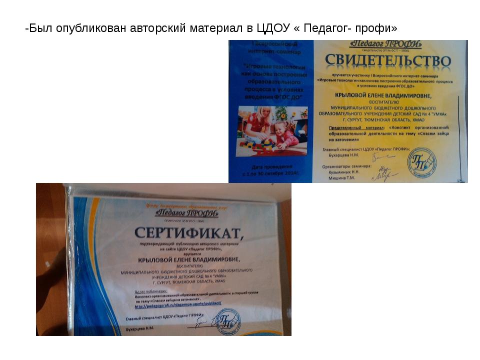 -Был опубликован авторский материал в ЦДОУ « Педагог- профи»