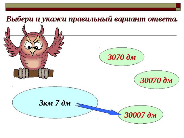 Выбери и укажи правильный вариант ответа. 3км 7 дм 3070 дм 30070 дм 30007 дм