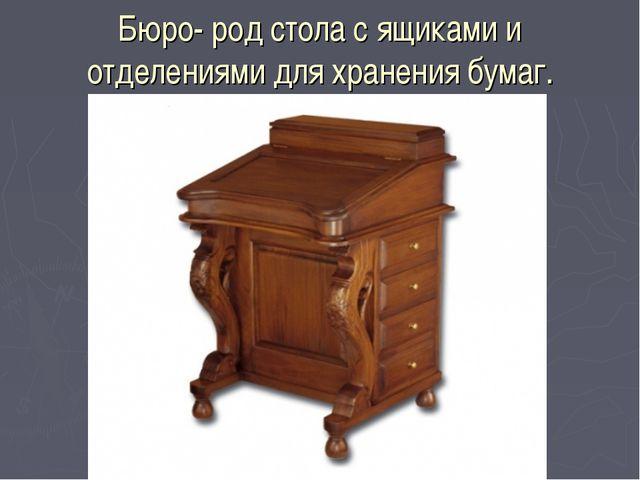 Бюро- род стола с ящиками и отделениями для хранения бумаг.