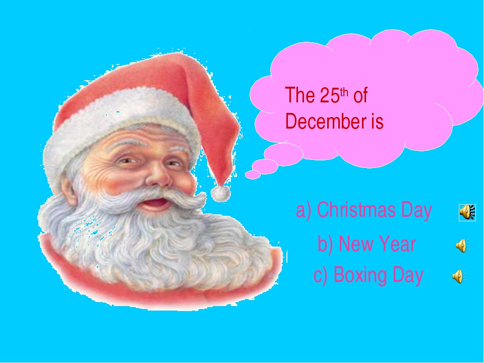 The 25th of December is a) Christmas Day b) New Year c) Boxing Day