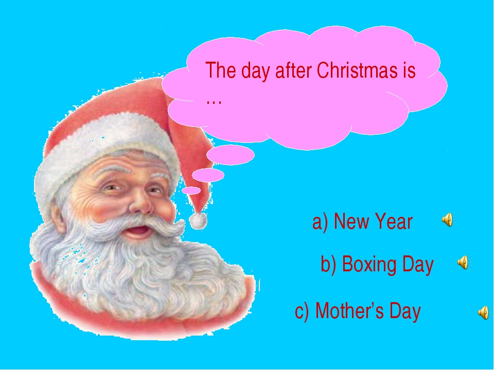 The day after Christmas is … a) New Year b) Boxing Day c) Mother's Day