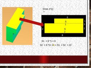 Sпов = S1 S2 3 2 8 2 1 6 S1 = 6 *1 = 6 S2 = 8 *2= 16 S = S1 + S2 = 22 2*22
