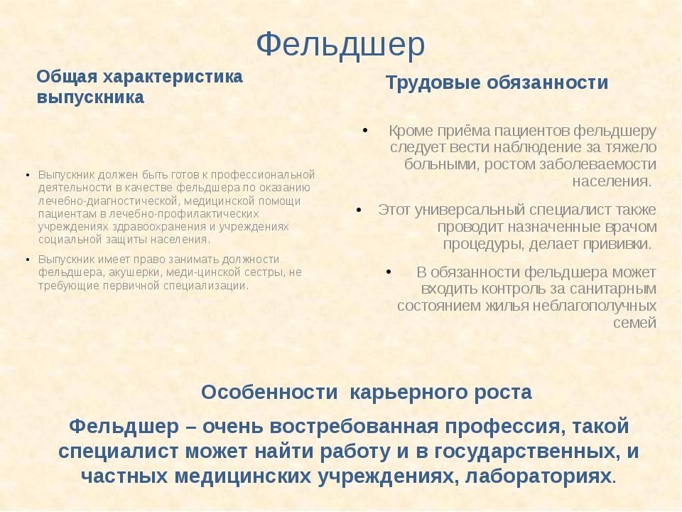 Фельдшер Общая характеристика выпускника Выпускник должен быть готов к профес...