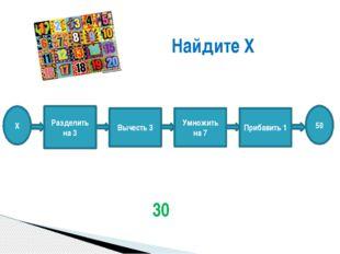 Найдите Х 30 Х Разделить на 3 Вычесть 3 Умножить на 7 Прибавить 1 50