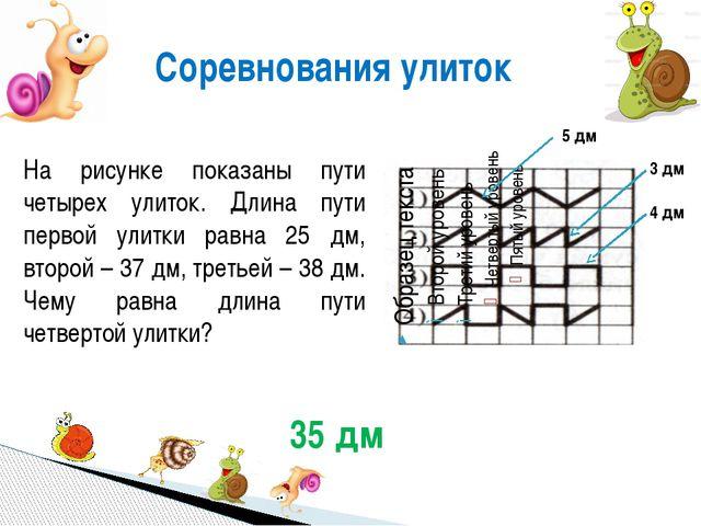 Соревнования улиток На рисунке показаны пути четырех улиток. Длина пути перво...