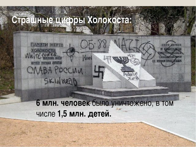 Страшные цифры Холокоста: 6 млн. человек было уничтожено, в том числе 1,5 млн...