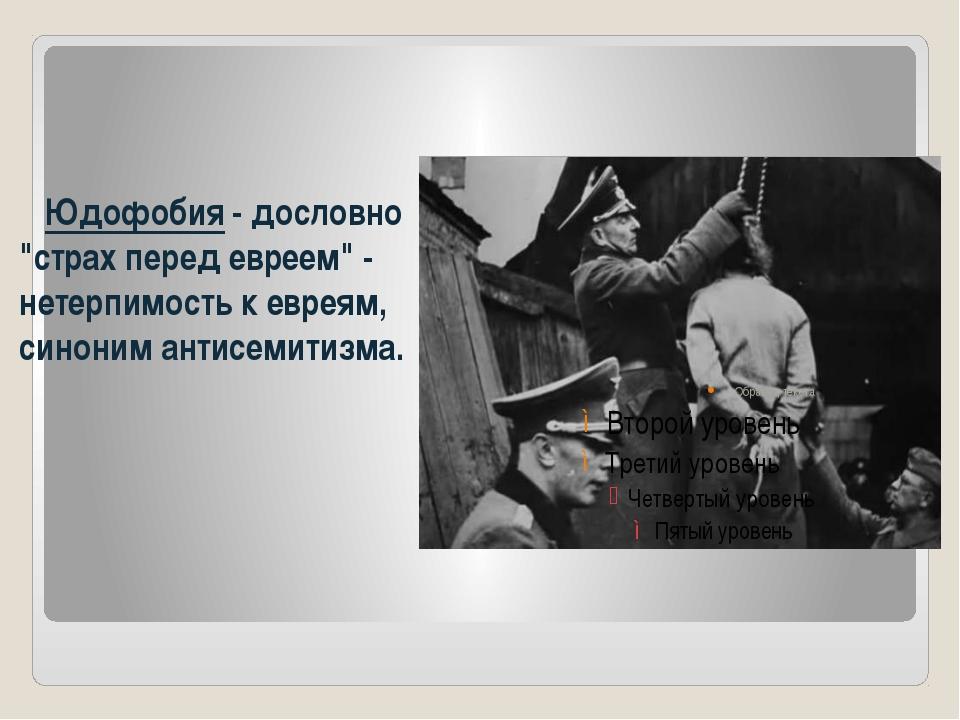 """Юдофобия - дословно """"страх перед евреем"""" - нетерпимость к евреям, синоним ан..."""