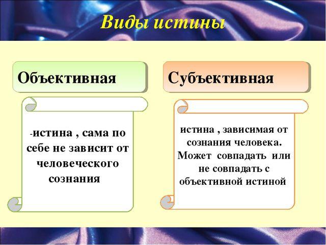 Виды истины Объективная Субъективная -истина , сама по себе не зависит от чел...