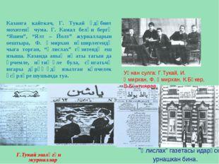 "Г.Тукай эшләгән журналлар ""Әлислах"" газетасы идарәсе урнашкан бина. Уңнан сул"
