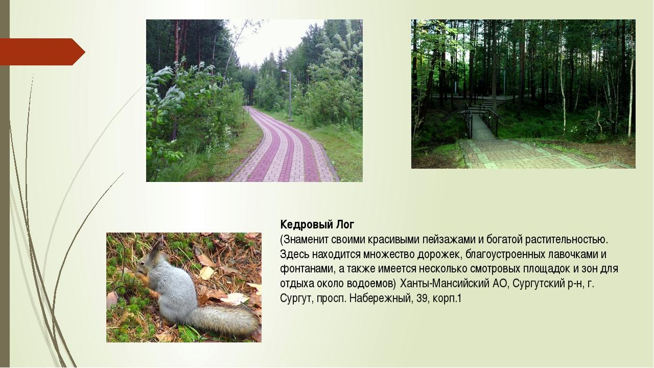 Кедровый Лог (Знаменит своими красивыми пейзажами и богатой растительностью....