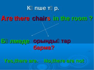Көпше түр. there chairs in the room ? Бөлмеде орындықтар барма? Are Yes,there