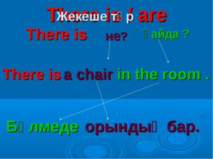 There is / are There is не? қайда ? There is a chair in the room . Бөлмеде ор