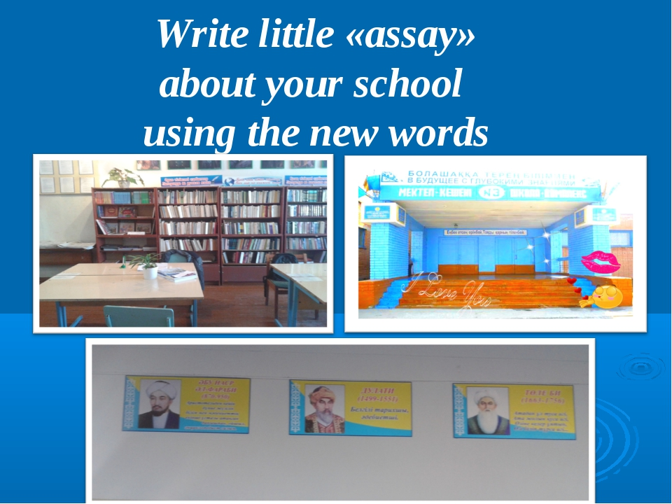 Write little «assay» about your school using the new words