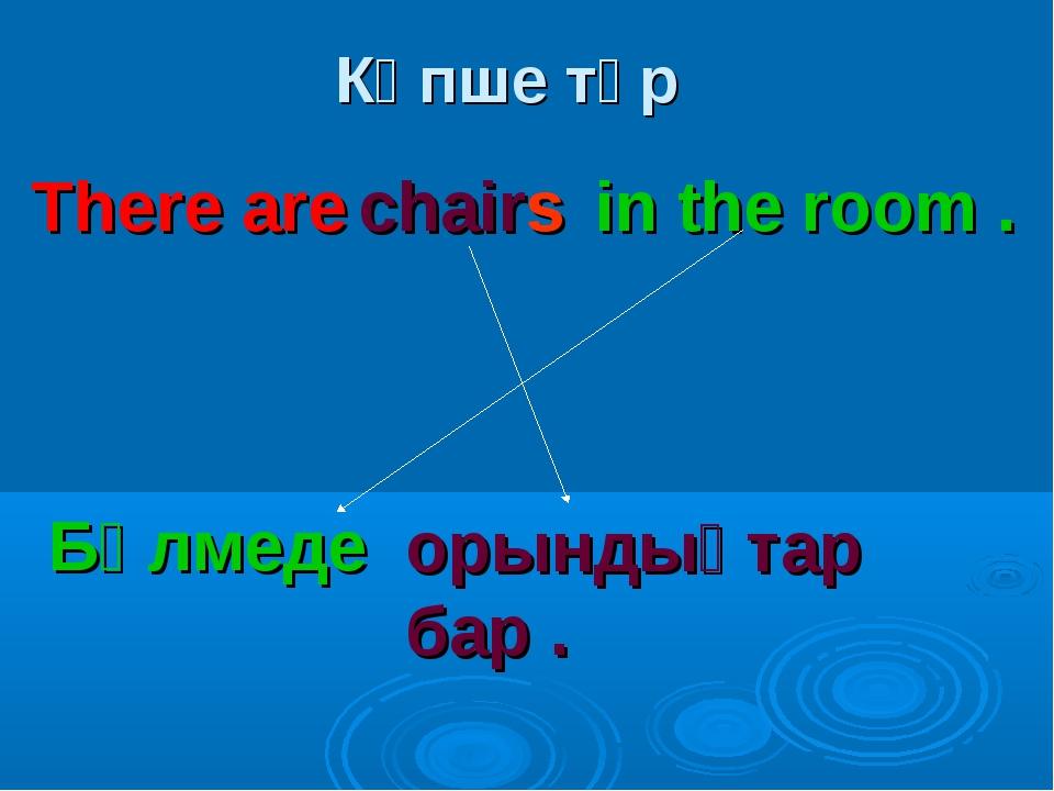 Көпше түр There are chairs in the room . Бөлмеде орындықтар бар .