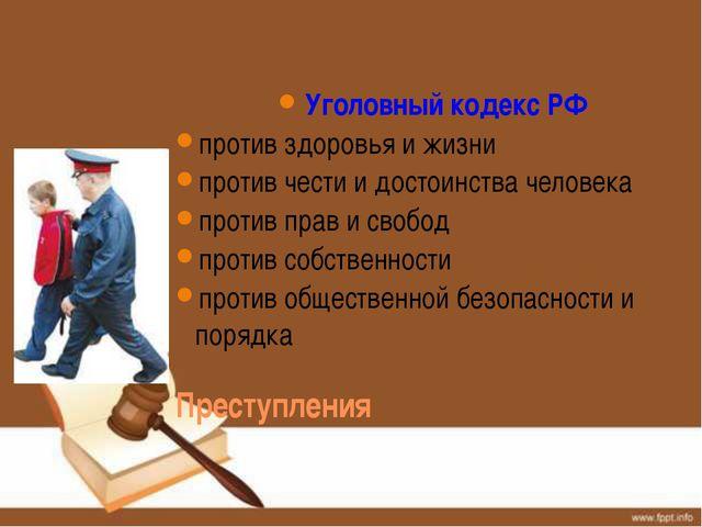 Уголовный кодекс РФ против здоровья и жизни против чести и достоинства челов...
