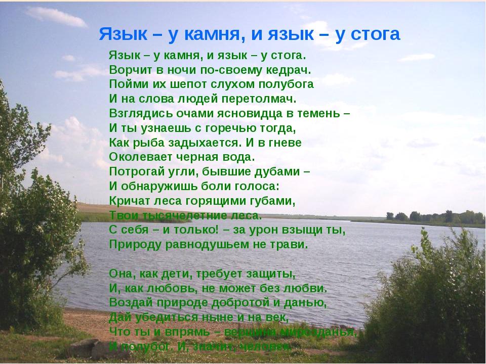 Язык – у камня, и язык – у стога Язык – у камня, и язык – у стога. Ворчит в н...