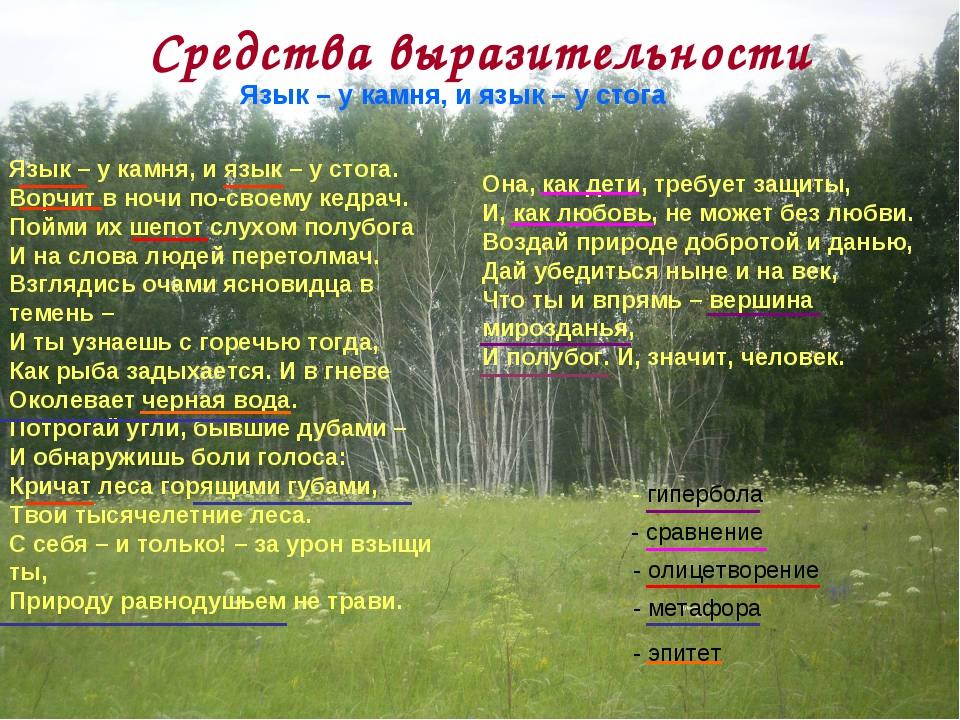 Средства выразительности  Язык – у камня, и язык – у стога Язык – у камня, и...