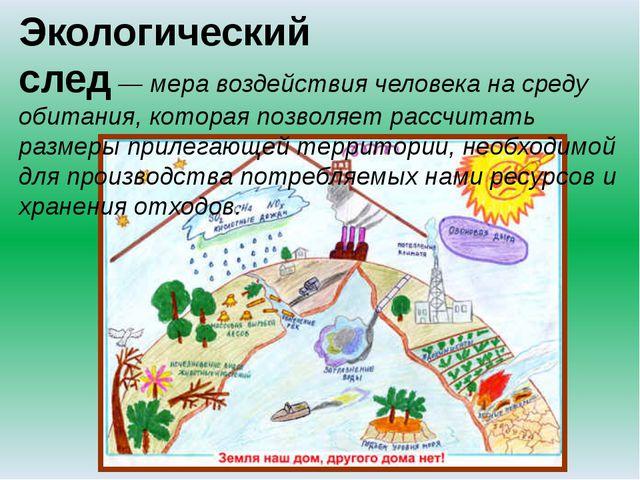 Экологический след—меравоздействия человека насреду обитания, которая по...