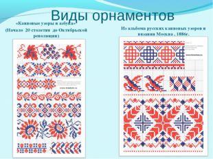 Виды орнаментов «Канвовые узоры и азбука» (Начало 20 столетия до Октябрьской
