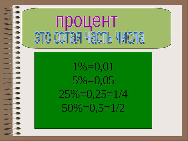 1%=0,01 5%=0,05 25%=0,25=1/4 50%=0,5=1/2