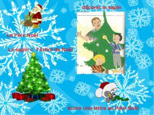 Le sapin = l'Arbre de Noël Le Père Noël décorer le sapin écrire une lettre au