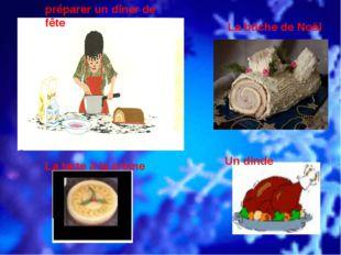 préparer un dîner de fête La bûche de Noël La tarte à la crème Un dinde