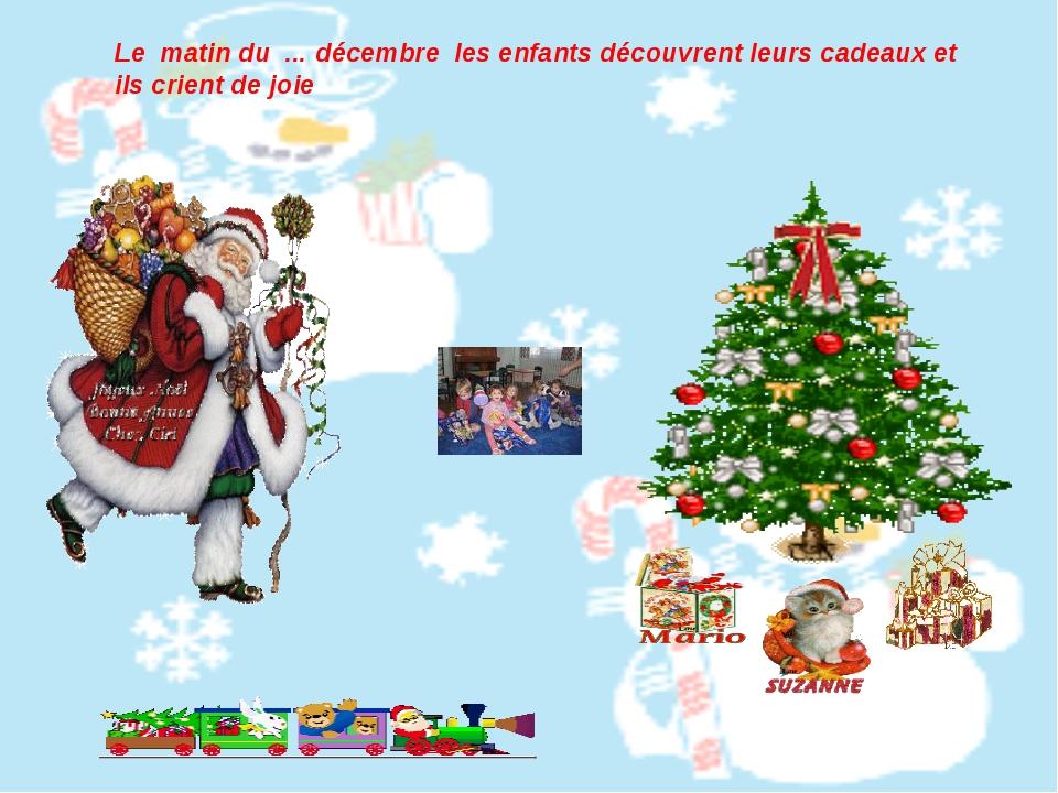 Le matin du ... décembre les enfants découvrent leurs cadeaux et ils crient d...