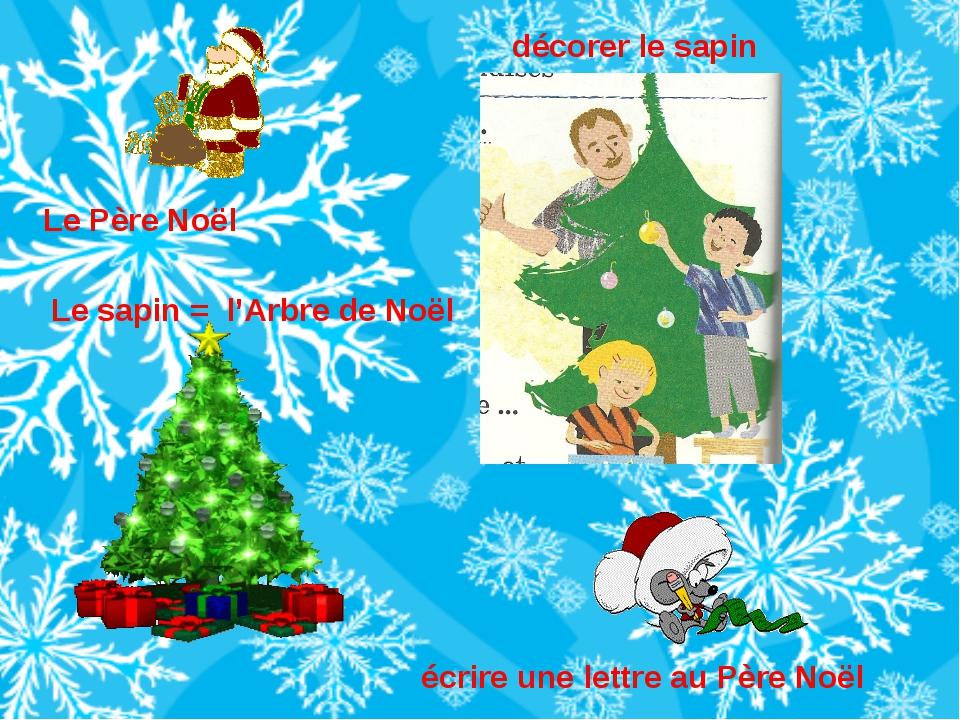 Le sapin = l'Arbre de Noël Le Père Noël décorer le sapin écrire une lettre au...