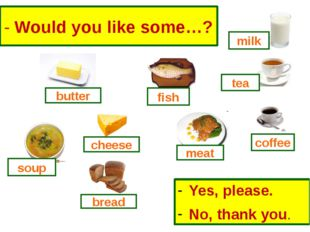 - Would you like some…? Yes, please. No, thank you. milk fish butter cheese s