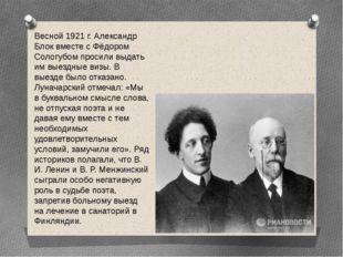 Весной 1921 г. Александр Блок вместе с Фёдором Сологубом просили выдать им вы