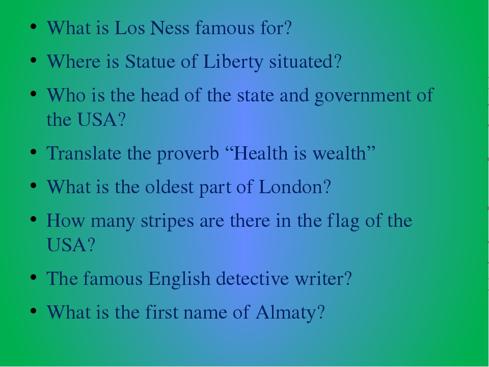 What is Los Ness famous for? Where is Statue of Liberty situated? Who is the...