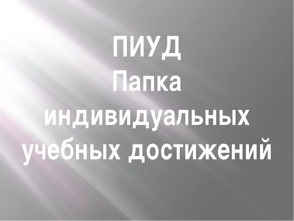 ПИУД Папка индивидуальных учебных достижений