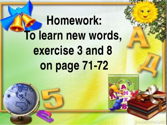calling on the head of the group Homework: To learn new words, exercise 3 an...
