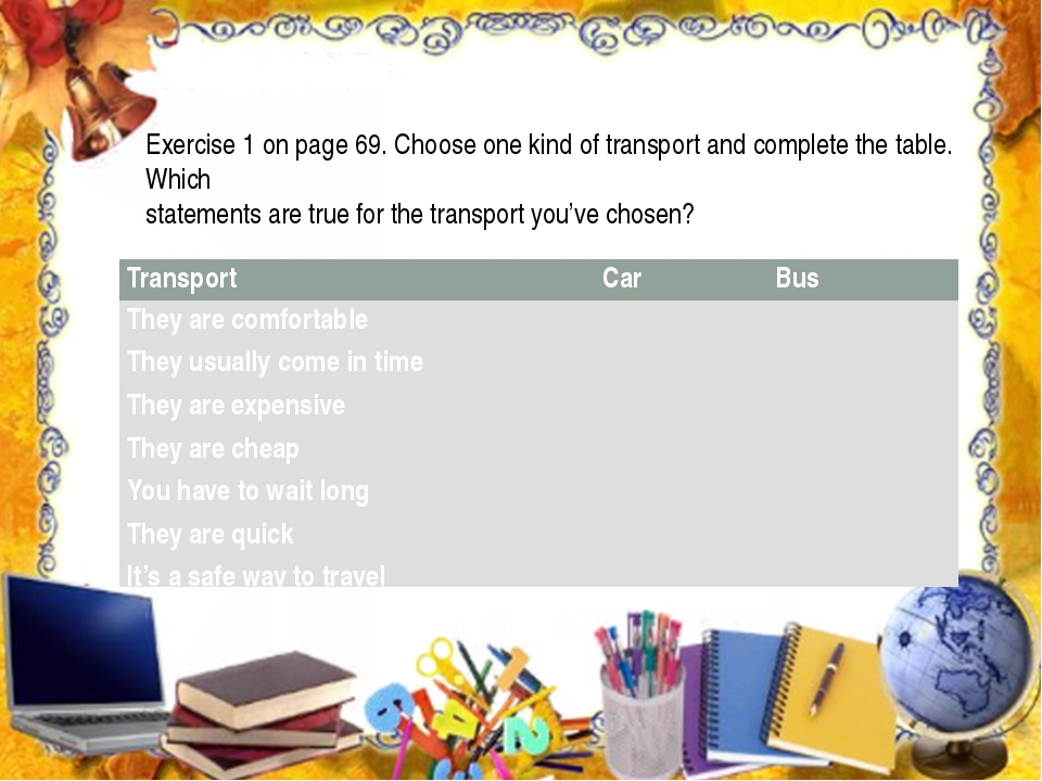 Exercise 1 on page 69. Choose one kind of transport and complete the table....