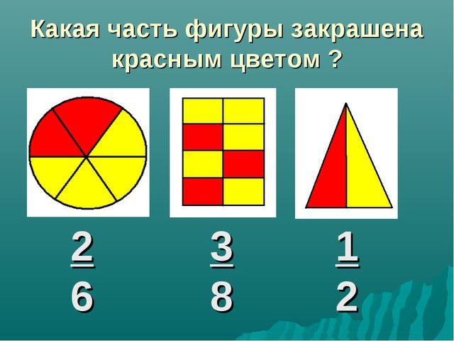 Какая часть фигуры закрашена красным цветом ? 2 6 3 8 1 2