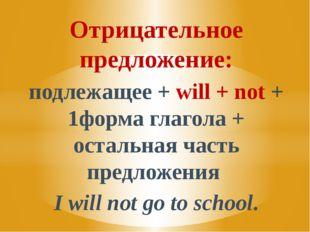 Отрицательное предложение: подлежащее + will + not + 1форма глагола + остальн