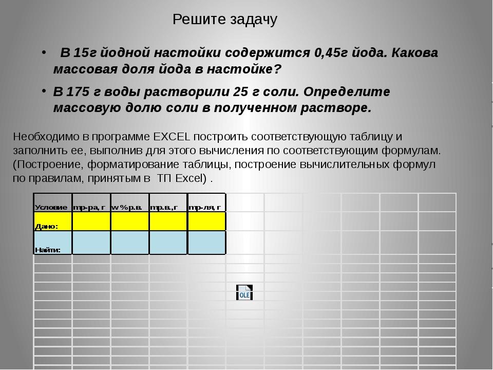 Решите задачу В 15г йодной настойки содержится 0,45г йода. Какова массовая до...