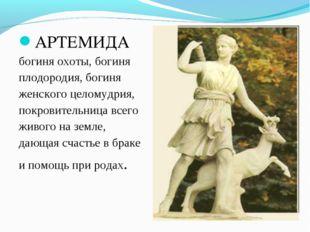 АРТЕМИДА богиняохоты,богиня плодородия,богиня женскогоцеломудрия, покро