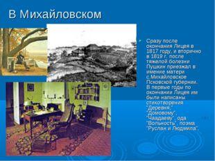 В Михайловском Сразу после окончания Лицея в 1817 году, и вторично в 1819 г.