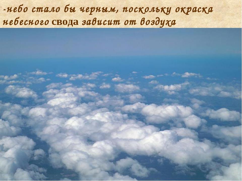 -небо стало бы черным, поскольку окраска небесного свода зависит от воздуха