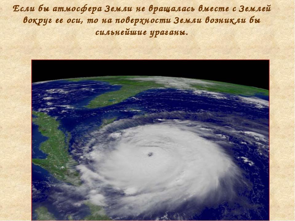 Если бы атмосфера Земли не вращалась вместе с Землей вокруг ее оси, то на пов...